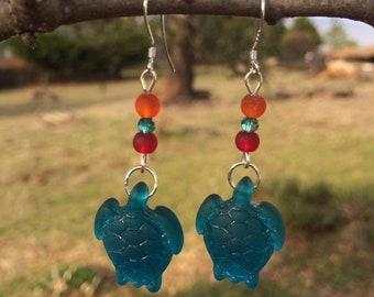 Blue Sea Glass Earrings, Turtle Earrings