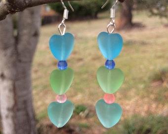 Sea Glass Heart Earrings