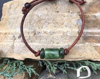 Jade and Leather Bracelets