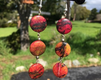 Red and Orange Stone Earrings