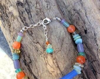 SALE - Glass, Agate, Amazonite, Lepidolite, Dyed Jade and Citrine Bracelet