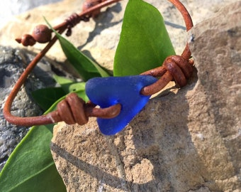 Genuine Sea Glass Heart and Leather Bracelet