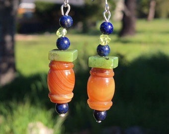 British Columbia Jade, Lapis, Olivine and Agate Earrings