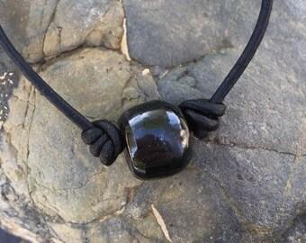 Washington River Black Jade and Leather Bracelet