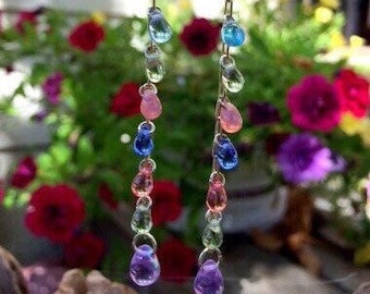 Colorful Czech Glass Earrings: Purple, Pink, Blue and Green Glass Teardrop Earrings