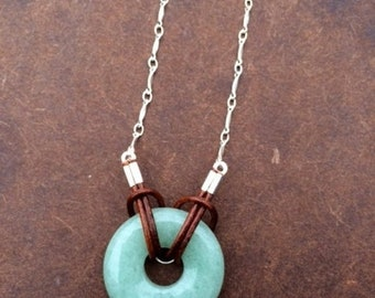 SALE - Aventurine, Leather and Silver Necklace