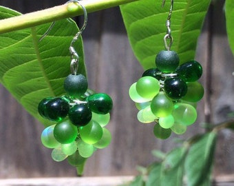 Sea Glass Bubble, Cluster Earrings