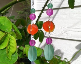 Mint, Hot Purple and Orange Sea Glass Earrings