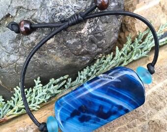 Striped Agate, Glass and Leather Bracelet, Blue Agate Bracelet