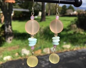 Peach and Yellow Sea Glass Earrings