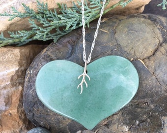 Aventurine Heart and Sterling Silver Necklace, Large Heart Stone Necklace