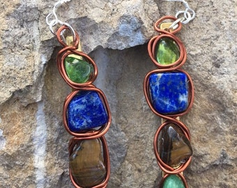 Fuchsite, Tiger's Eye, Lapis and Green Onyx Earrings