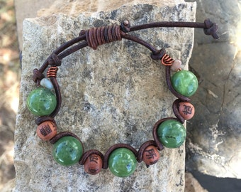 British Columbia Jade, Leather and Copper Bracelet