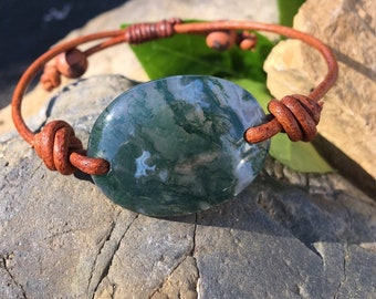 Moss Agate and Leather Bracelet