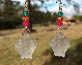 White Sea Glass Earrings, Turtle Earrings