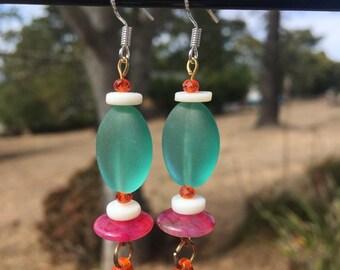 Sea Glass, Quartz and Shell Earrings