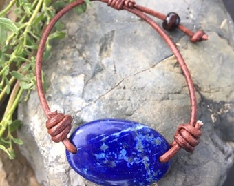 Lapis Lazuli and Leather Bracelet