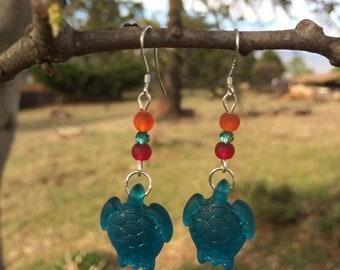 SALE - Blue Sea Glass Earrings, Turtle Earrings