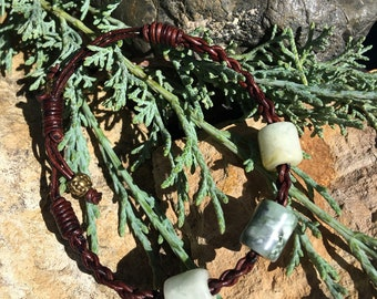 Washington River Grossular Garnet, California Botryoidal Jade and Leather Braided Bracelet