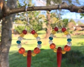 SALE - Sea Glass Hoop Earrings