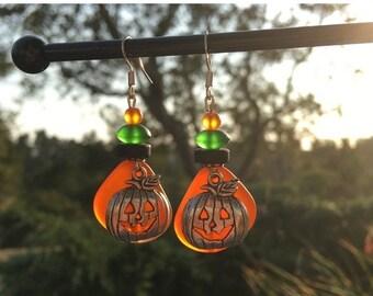 SALE - Orange Sea Glass Earrings: Halloween Earrings, Pumpkin Earrings, Jack O' Lantern Earrings