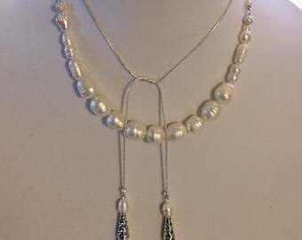 Madam Secretary Pearl and Tassel Necklace, Tea Leoni, Madam Secretary, Pearl and Tassel Necklace, Extra, Large Pearls and Unique Shaped