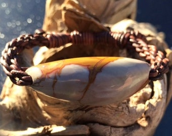Picture Jasper and Leather Braided Bracelet