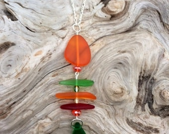 Sea Glass Necklace Fishbone Necklace Red, Green and Orange Sea Glass Necklace