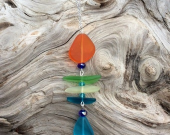 Sea Glass Necklace Fishbone Necklace Yellow Orange Green Blue Sea Glass Necklace