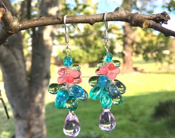 Czech Glass Bubble Earrings, Cluster Earrings