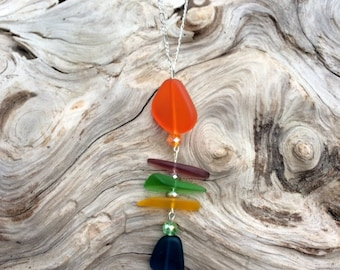 Sea Glass Necklace Fishbone Necklace Blue Green Purple Orange Sea Glass Necklace