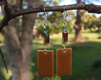 Brown Enamel and Czech Glass Earrings