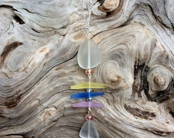 Sea Glass Necklace Fishbone Necklace Yellow White Blue Pink Sea Glass Necklace