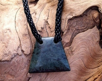 Washington River Jade and Leather Braided Necklace