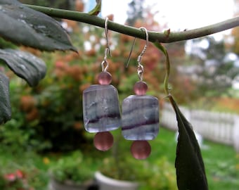 Fluorite and Sea Glass Earrings
