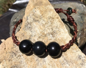 Obsidian and Leather Braided Bracelet