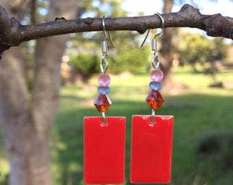 Red Enamel And Swarovski Earrings