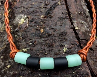 Green and Black Sea Glass and Leather Braided Necklace