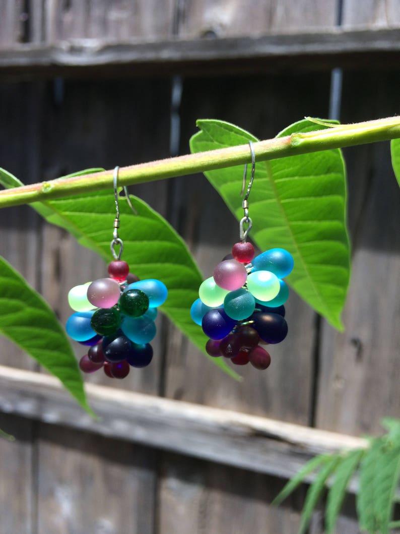Sea Glass BubbleCluster Earrings