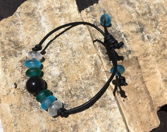 Obsidian, Sea Glass and Leather Bracelet