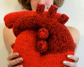 """Hand knit """"I give you my heart"""" Pillow - Anatomical Heart - Nerd Gift"""