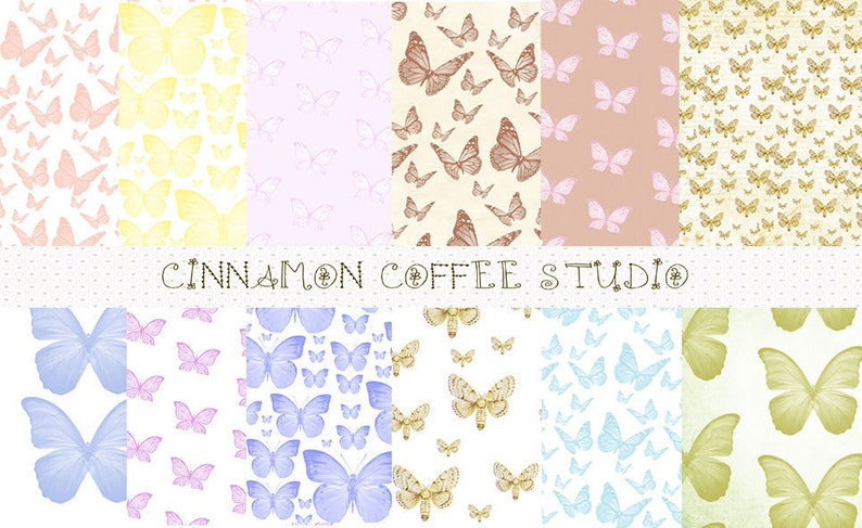 Butterfly Digital Papers Romantic Butterflies Backgrounds Etsy