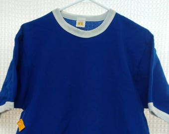 1970's vintage ringer Jersey Blue blank nylon mesh NOS new Russell Mills Athletic 70's sports tee solid blue M/L retro fashion sportswear !!
