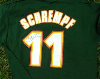 vintage Sonics T Shirt Detlef Shrempf autograph 90s Seattle Supersonics Team Shop single stitch NOS 1990s NBA basketball rare jersey tee Lrg