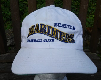vintage Seattle MARINERS Hat white snapback spell out snap back MLB  Baseball Club Griffey Jr. 80s Twins brand M s RARE cap 1980 s Kingdome bdee055b5