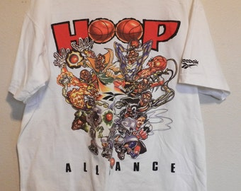 143a5ea7bea vintage NBA caricature T Shirt Reebok Hoop Alliance early 90s hip hop RARE  tee basketball XL Superstars street fashion Shawn Kemp Dee Brown