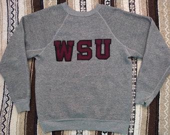 4d43bd97 vintage WSU Cougars Sweatshirt 70s 80s Tri Blend heather gray M/L butter  soft crewneck Washington State University COUGS 1980s sewn Patches