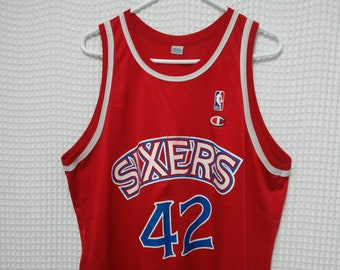 vintage Philadelphia 76ers Jersey Jerry Stackhouse 90s Champion size 48  L XL Red SIXERS NBA basketball rookie 1990s throwback hip hop summer b69eda28b
