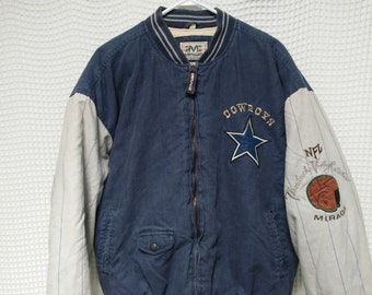 Vintage Dallas COWBOYS Jacket 90s Varsity sewn embroidered L XL Mirage  Throwbacks Collection pinstripe sleeves NFL Football coat 1990s 019fd0a5e