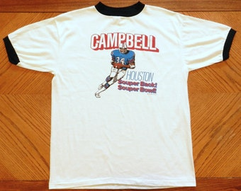 vintage Earl Campbell Houston Oilers T Shirt 70s promo ringer tee Large  rare 50 50 jersey 4f89e232a